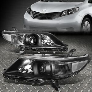 For 11 20 Toyota Sienna Black Housing Clear Corner Projector Headlight Headlamp