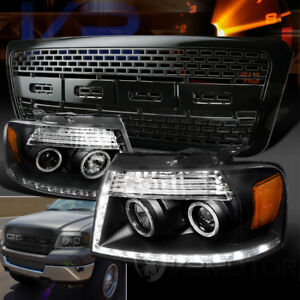 04 08 Ford F 150 Black R8 Led Halo Projector Headlights Raptor Style Hood Grille