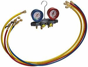 Yellow Jacket 46003 Brute Ii 4 v Manifold Set 60 Hoses W Ball Valve Ends