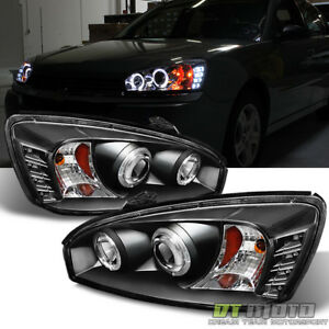 Black 2004 2005 2006 2007 Chevy Malibu Led Halo Projector Headlights Headlamps