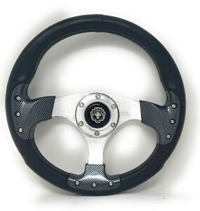 1984 Club Car Ds Black Carbon Steering Wheel Golf Cart With Chrome Adapter
