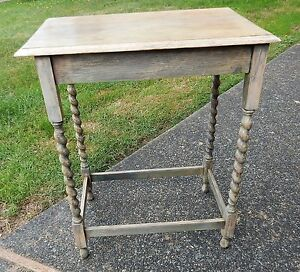 Vintage Grey Weathered Oak Barley Twist Side Occasional End Entry Table