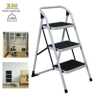3 Steps Ladder Folding Non Slip Safety Tread Heavy Duty Industrial Home Use New