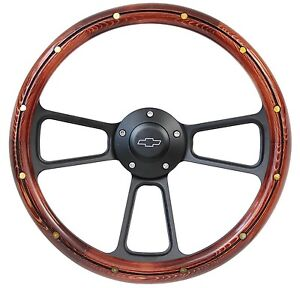 Wood Black Billet Steering Wheel Horn Flaming River Ididit Or Gm Style Column