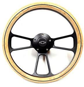 1970 1975 Chevy Gmc Vans Real Oak Steering Wheel Black Billet Adapter