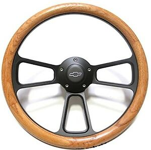 1956 Chevy Pick Up Trucks Real Oak Steering Wheel Black Billet Adapter