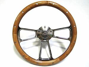 Chevy Corvette 1968 1982 Wood Chrome Steering Wheel Adapter Ships Free