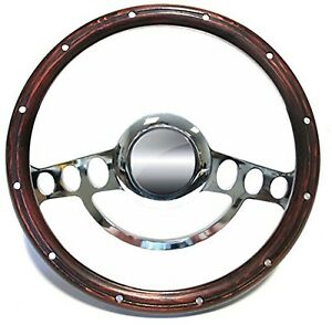 Hot Rod Street Rod Rat Rod Chrome Wood Steering Wheel Nine Hole 14
