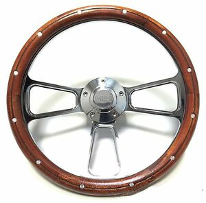 Chevy Super Sport Chrome And Real Mahogany Steering Wheel Ss Logo Engraved Horn
