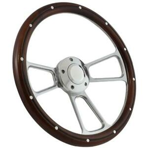 Hot Rod Street Rod Rat Rod Truck Real Pine Chrome Steering Wheel Horn