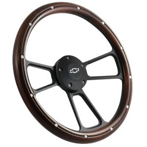 14 Real Mahagony Wood Grain Steering Wheel W Black Chevy Horn 3 Spoke Slotted