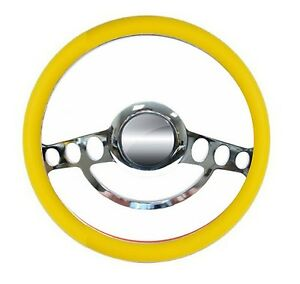 New World Motoring Yellow And Chrome Hot Rod Steering Wheel 9 Hole For Gm