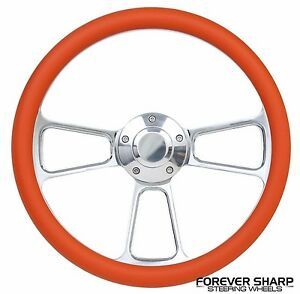 14 Chrome Aluminum Orange Steering Wheel To Hot Rod 3 Bolt Adapter Column Grant