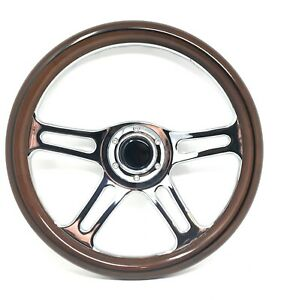 14 6 Hole Mahogany Wood Chrome Spoke Steering Wheel Horn Button Chevy Ford Gmc