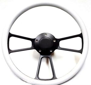 Hot Rod Street Rod Rat Rod Truck White On Black Billet Steering Wheel Full Kit