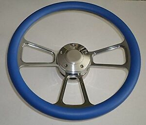 Sky Blue Half Wrap 14 Billet Steering Wheel Kit With Hub Adaptor
