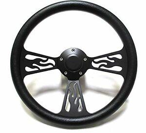 1978 1998 Dodge Chrysler Plymouth Steering Wheel Black Billet Flames Full Kit