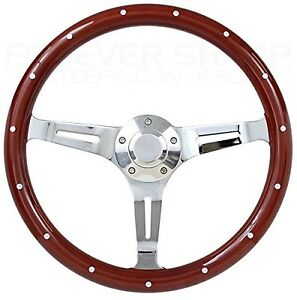 Hot Rod Street Rod 14 Mahogany Chrome Steering Wheel For Gm style Column
