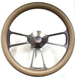 Textured Tan And Polished Billet Steering Wheel With Keyway Adapter For Boats