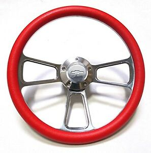 1960 1969 Chevy C10 Pick up Truck Red Steering Wheel Chevy Horn Billet Kit