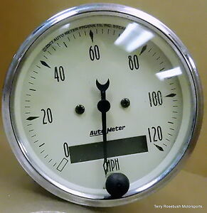 Autometer 1887 Antique Beige Speedometer 0 120mph 3 1 8 Dia Electrical