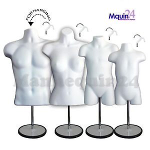 4 White Mannequins Male Female Child Toddler Body Forms 4 Stand 4 Hangers
