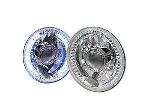 Universal 7 Round Chrome White Led Halo Rims Projector Head Lights Lamps H4 Ca1