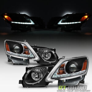 For Blk 2006 2011 Lexus Gs300 Gs350 Hid Xenon Led Strip Drl Headlights Headlamps