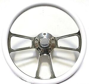 1968 Camaro 14 Billet White Muscle Style Wheel With Chevy Ss Horn