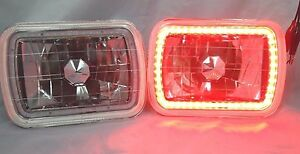 1982 1985 Ford Exp 7x6 H6014 6052 6054 Chrome Crystal Smd Ring Halo Red Headl