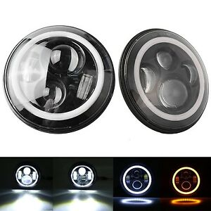 Ford Mustang 1965 1973 7 Inch Round Cree Led Headlights White Halo Ring Angel
