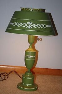 Vintage Olive Green With White Accent Toleware Table Lamp