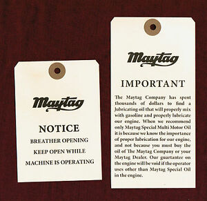 Maytag Gas Engine Model 92 72 82 Upright Shipping Tag Motor Washer Hit Miss