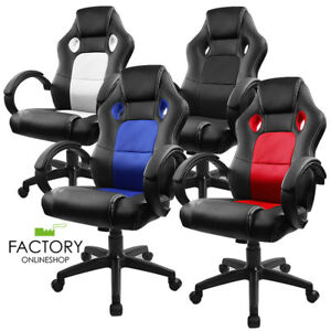 Executive Swivel Computer High Back Racing Office Chairs White blue red blue