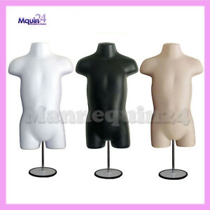 3 Mannequin Toddler Torsos Set white Black Flesh Forms 3 Stands 3 Hangers