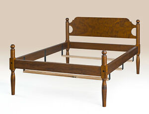 Low Poster Bed Frame Full Size Tiger Maple Wood Country Style Bedroom Furniture