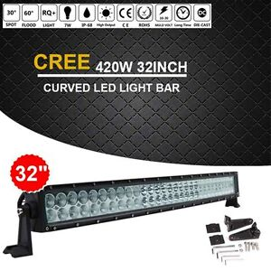 Cree 420w 32 Inch Curved Led Work Light Bar Combo Offroad Truck Suv Jeep Ford 30