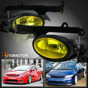 For 2006 2008 Honda Civic 2dr Coupe Jdm Yellow Bumper Fog Lights Pair Switch Kit
