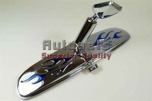 Chrome Interior Rear View Mirror Blue Flames Hot Rod Day Night Switch Gm Chevy