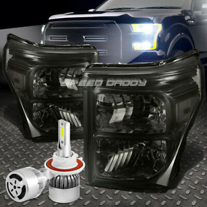 Smoked Housing Headlight Clear Corner White Led H13 Hid Fan For 11 16 Superduty
