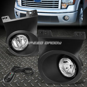 For 09 14 Ford F150 Clear Lens Bumper Fog Light Replacement Lamp W Bezel Switch