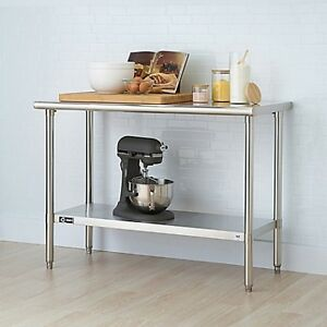 48inch Nsf Table Stainless Steel Kitchen Island Rolling Mobile Cart Work Surface