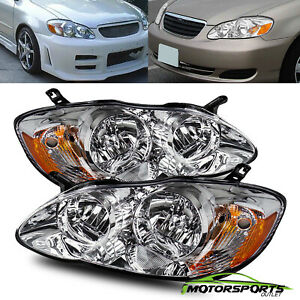 For 2003 2008 Toyota Corolla Chrome Factory Style Headlights 2004 2005 2006 2007