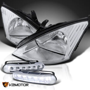 Fit 2000 2004 Ford Focus Euro Crystal Clear Headlights Head Lamps Led Fog Lamps