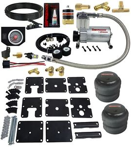 Air Tow Assist Kit 1999 06 Chevy Silverado 1500 Black Gauge Air Compressor