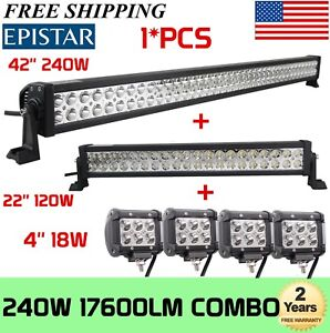 42inch Led Light Bar Combo 20in 4 Cree Pods Offroad Suv 4wd Atv Ford Jeep 40