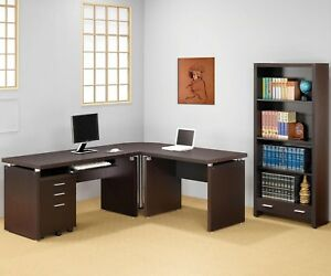 Cappuccino Finish Home Office L Shape Desk Bookcase Set