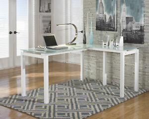 Ashley H410 24 Baraga White L Shaped Home Office Desk With Glass Top
