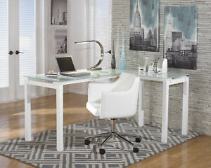 Ashley Baraga White L Shaped Home Office Desk With Swivel Chair Set