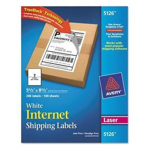 Avery 5126 Shipping Labels With Trueblock Technology 5 1 2 X 8 1 2 White 200